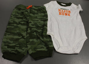 Carter's Mommy's Major Hunk Two Piece Onesie & Camo Pant Set, 9 Months, New