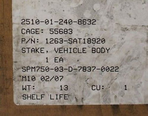 Vehicle Body Stake, PN 1263-SAT18920, NSN 2510-01-240-8632