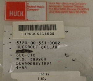 Collar Pin-Rivets, NSN 5320-00-551-8002, P/N 6LC-C10, NEW!