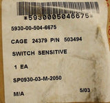 Sensitive Switch, Part Number: 503494, NSN 5930-00-504-6675, New
