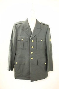 Vintage Men's Military Coat with Metal Buttons, Size: 41R, Color: Green
