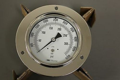 Baumer Dial Indicating Pressure Gage, PN 81030, 6685-01-222-8110, New