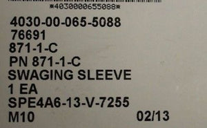 Wire Rope Swaging Sleeve, Copper, PN 871-1-C, NSN 4030-00-065-5088, New