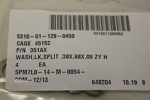 Locking, Split Washer, NSN, Set of 4, 5310-01-129-0450, P/N 351AX, New!
