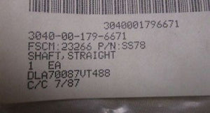 Straight Shaft, NSN3040-00-179-6671 P/N SS78, New