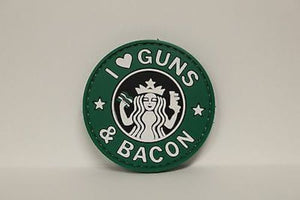 "5ive Star Gear I Love Guns and Bacon Morale Patch, 2.25"" Round, New, Hook Back"