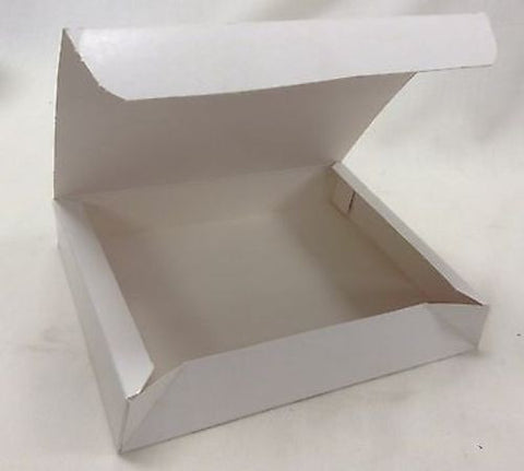 "25 Sperring White Corp Paperboard Folding Lunch Box 9 3/4"" x 7 13/16"" x 5/8"" New"