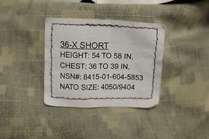 ACU Army Combat Coat, Size: 36-X Short, NSN:8415-01-604-5853, New