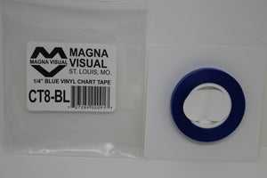 "Magna Visual CT8-BL Blue Vinyl Chart Tape, 1/4"" x 27'"
