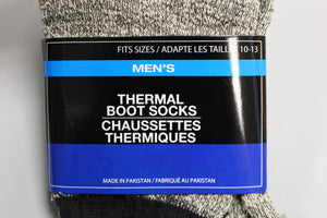 Mens Thermal Boot Socks, 10-13, Grey/Black, Cotton Polyester Spandex, New
