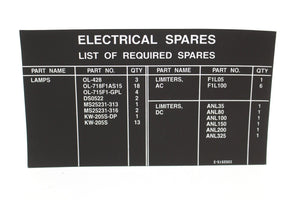 C130J Aircraft Electrical Spares Decal, 7690-01-476-5289, 3352515-3, New