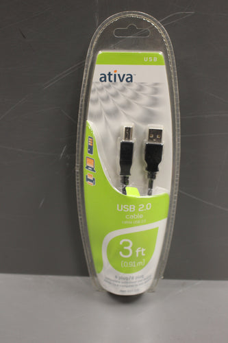 Ativa 2.0 USB Cable, 3 Foot, New!