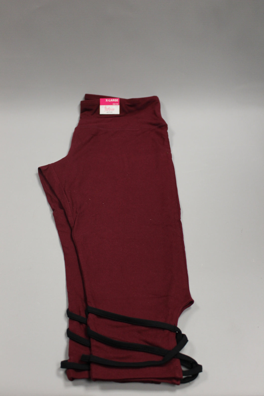Flirtitude Active X-Large Yoga Crop Deep Ruby Black