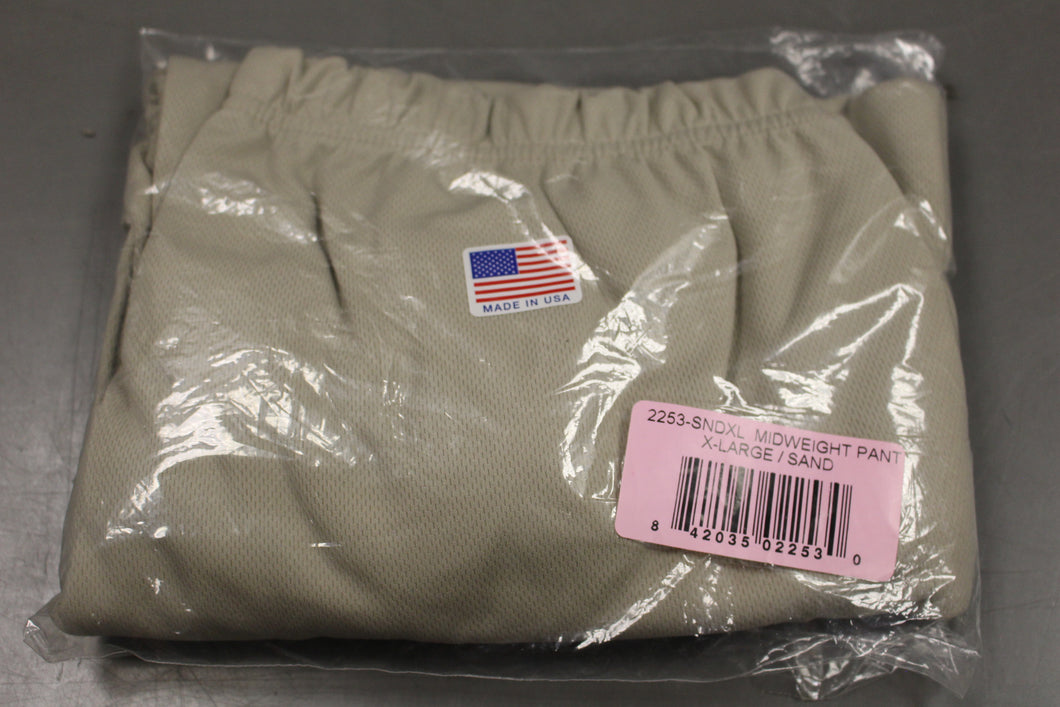Military Issued Midweight Long John Pants, Sand, XLarge, New