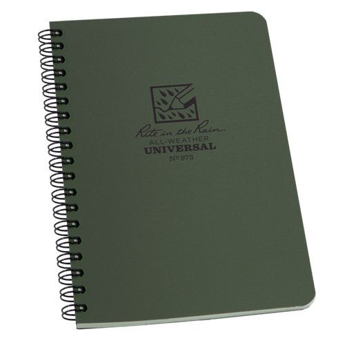 Rite in the Rain 4.625 x 7 Side-Spiral Green Notebook, New