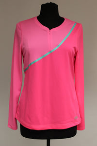 FILA Ladies Long Sleeve Top, Size: Medium, Two Tone Pink