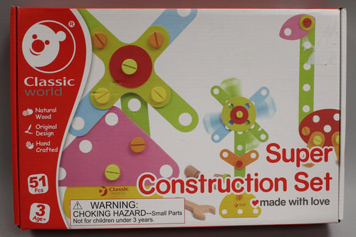 Classic World - Wooden Super Construction Set - New