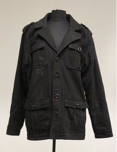 BKE 67 Black Lined Button Up Coat. Medium