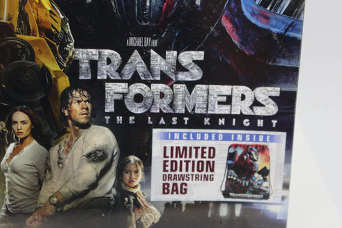 Transformers: The Last Knight Limited Edition DVD, Blue-Ray, Includes Draw String Bag, NEW!