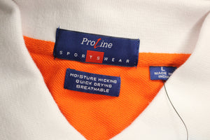 Proline Men's Sportswear Polo T-Shirt, Large, White with orange, NEW!