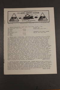 US Army Armor Center Daily Bulletin Official Notices, No 233, November 29, 1968