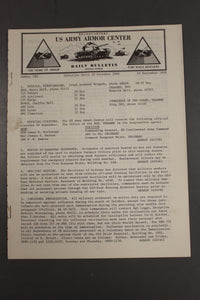 US Army Armor Center Daily Bulletin Official Notices, September 1968