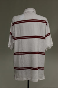 Proline Men's Sportswear Polo T-Shirt, Large, White with Maroon, NEW!