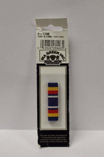 IRA Green Global War Service Ribbon, 3-1780, New