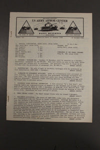 US Army Armor Center Daily Bulletin Official Notices, Year: 1969