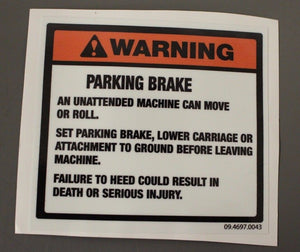 Parking Brake Decal, NSN 7690-01-495-6956, P/N 09.4697.0043, Pack of 4