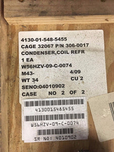 Refrigeration Condenser Coil, NSN 4130-01-548-5455, P/N 306-0017, New!