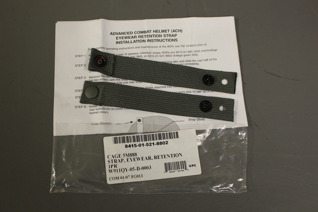 Pack of 10 ACH Eyewear Retention Straps, Foliage Green NSN 8415-01-521-8802, New