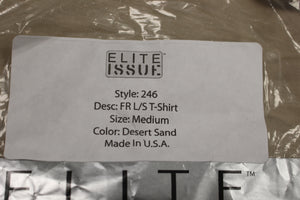 Elite Issue FR Long Sleeve T-Shirt, Desert Sand, Medium, New