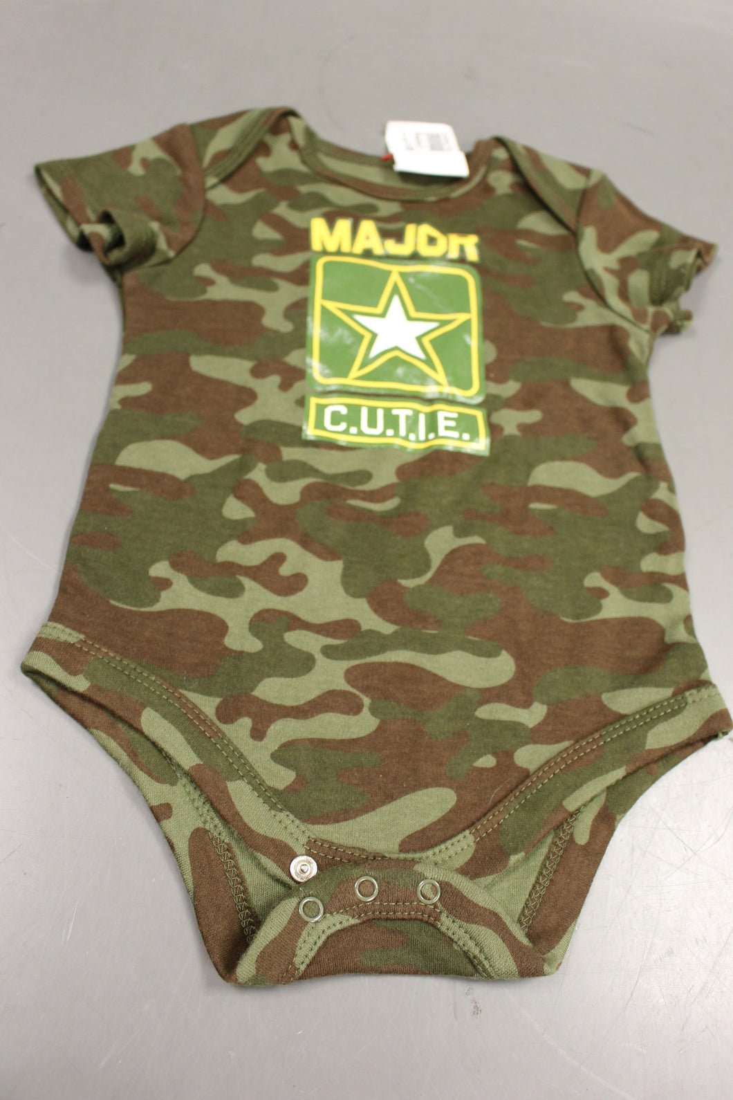 Military Style Major Cute Onesie, Woodland, 6-9 Months