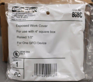 Box of 10 RACO 4 in Sq Single Gang Exposed Work Cover for GFCI Device, 808C, NEW