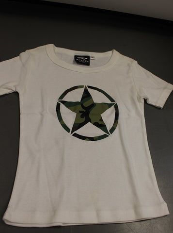 Rothco Camo Army Girls T-Shirt, White, Size: X-Large, New!
