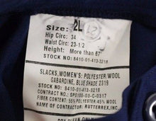 Load image into Gallery viewer, US Military Women's Blue Gaberdine Slacks, NSN 8410-01-413-3218, Size: 2 L, NEW!
