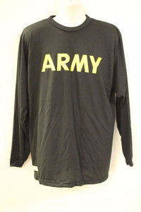 Army Long Sleeve APFU Long Sleeve T-Shirt, 8415-01-623-2648, Medium, Black, NEW!