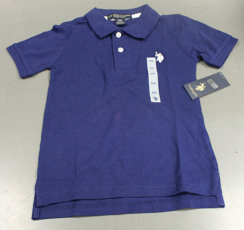 U,S, Polo Assn Boys Blue Polo, Short Sleeve, Small (4), New