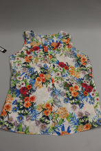 Load image into Gallery viewer, Nicole Miller White Multi-Color Sleeveless Blouse, Medium, New