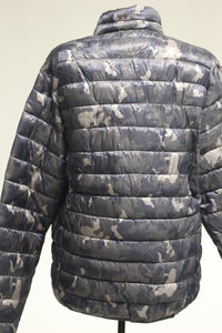 Hawke & Co Men's Hooded Polyfill Jacket, Geo Blue Camo, L, New