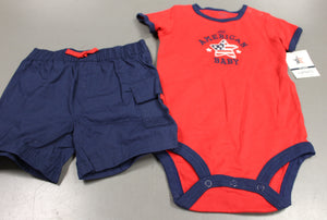Carter's All American Baby Two Piece Onesie & Shorts Set, 12 Months, New