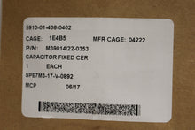 Load image into Gallery viewer, Ceramic Dielectric Fixed Capacitor, 5910-01-436-0402, M39014/22-0353, New