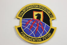 Load image into Gallery viewer, USAF Air Force 39th Information Operations Sq Squadron Fundamentum Futuri Patch, Hook & Loop,