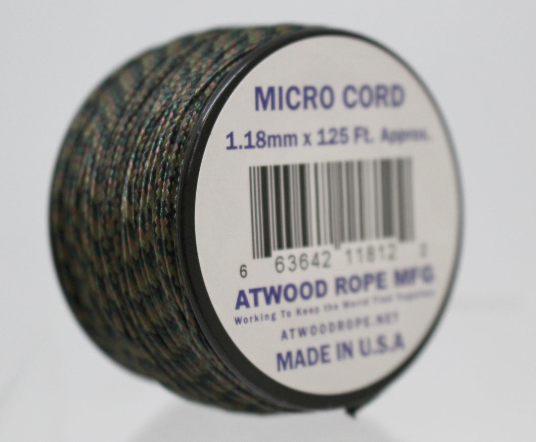 Braided Sport Micro Cord 1.18mm x 125 ft Nylon Rope - Woodland