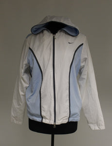 NIKE Womens Zip Up Jacket, Large (12 - 14), White/Blue
