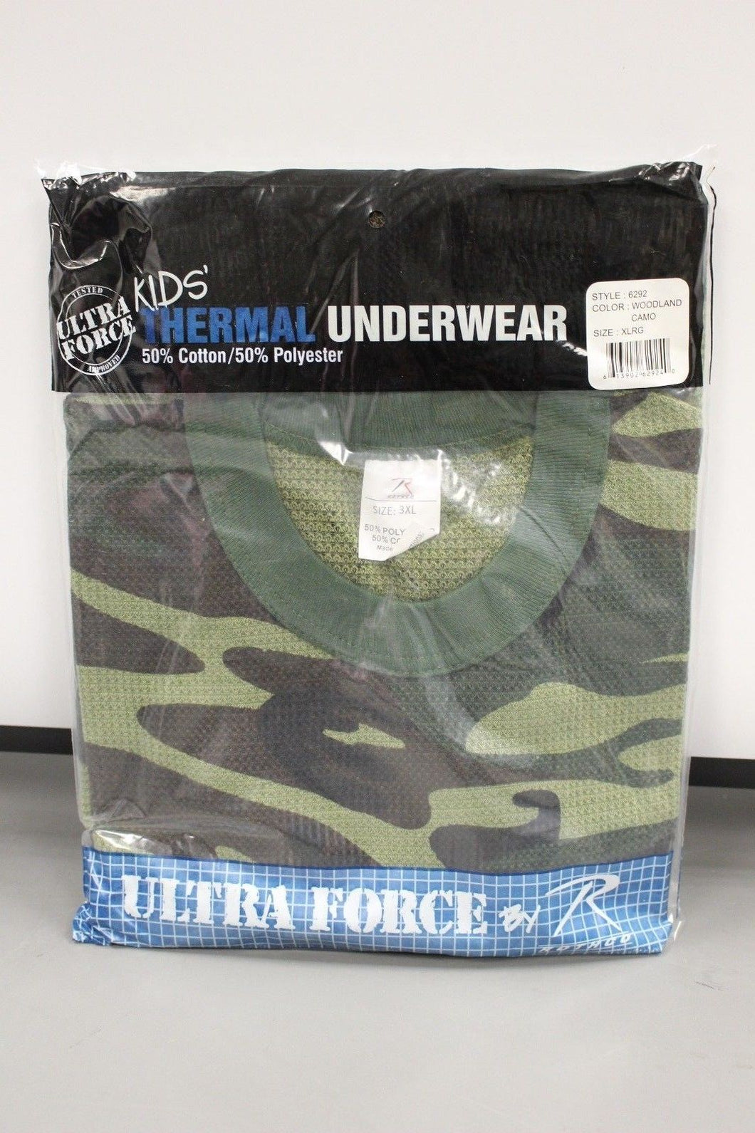 Kids Ultra Force Thermal Woodland Camo Top, XL, NEW!