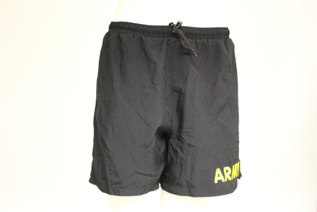US Military Army APFU Shorts, Size:Small, Color: Black, Yellow Letters
