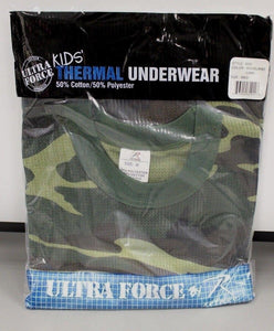 Kids Ultra Force Thermal Woodland Camo Top, Medium, NEW!