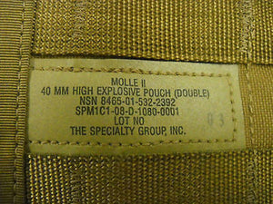 MOLLE II 40 MM High Explosive Pouch Double Coyote Tan